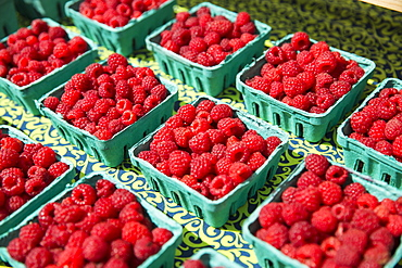 A farm stand, with displays of punnets of fresh berry fruits. Raspberries, Woodstock, New York, USA