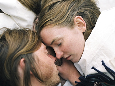 Close up of young couple sleeping, Millcreek, Utah, United States of America