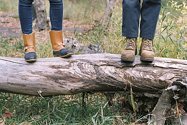 Close up of couple standing side by side on a tree trunk, Millcreek, Utah, United States of America