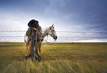 A cowboy standing leaning on a fence post on the range, A grey horse behind him, Saskatchewan, Canada
