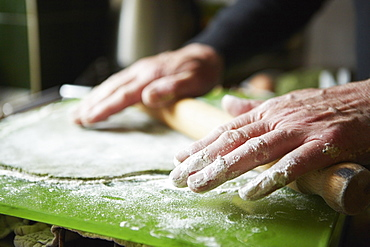 A man making fresh pasta with nettles and foraged plants, England, United Kingdom