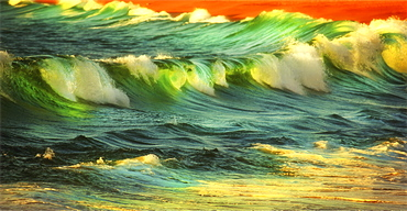 Waves and surf breaking on the shore at sunset, Ocean surf, Mexico