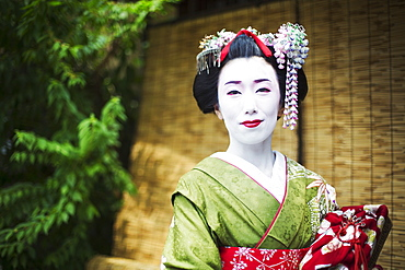 A woman dressed in the traditional geisha style, wearing a kimono and obi, with an elaborate hairstyle and floral hair clips, with white face makeup with bright red lips and dark eyes, Japan