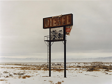A sign in the desert landscape, Diesel, in the middle of nowhere, USA