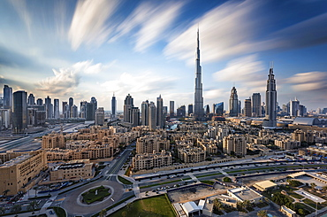 Cityscape of Dubai, United Arab Emirates, with the Burj Khalifa skyscraper and other buildings in the foreground, Dubai, United Arab Emirates