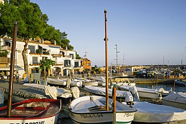 Moored boats on beach at dusk, Llafranc, Costa Brava, Catalonia, Spain, Spain