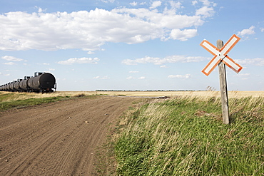 Oil train cars and road crossing, near Swift Current, Saskatchewan, Canada