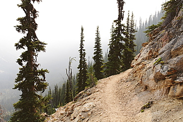 The Pacific Trail winds along a smoky and hazy section, near Cutthroat Pass, North Cascades, Washington, United States of America