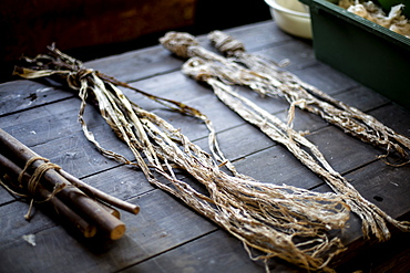 Small bunches of branches and plant fibres on a table, the organic matter used in making washi paper, Kyushu, Japan