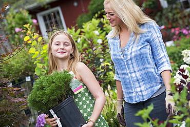 An organic flower plant nursery. A woman and a girl walking.