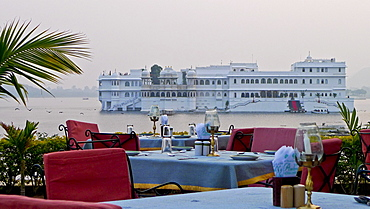 Dining Tables with Lake Palace in Background, Udaipur, Rajasthan, India