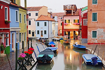 Boats in Burano Canal During a Rain Shower, Burano, Veneto, Italy