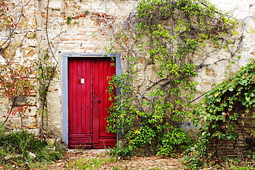 Red Door in Old Brick and Stone Cottage, Siena, Tuscany, Italy
