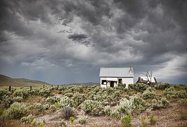 Abandoned Buildings Under a Dark Sky, Phoenix, Arizona, United States of America