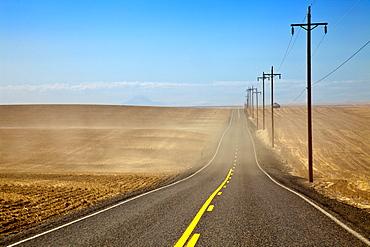 Highway through Farmland, Oregon, United States of America