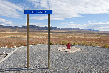 Pet Relief Area at Highway Rest Stop, West Desert, Utah, United States of America