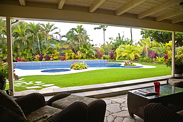 Patio overlooking swimming pool, Hawaii, United States of America