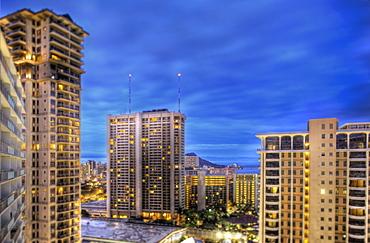 Honolulu Skyline at Dusk, Honolulu, HI, United States of America