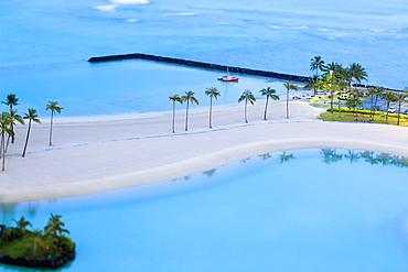 Tropical Beach and Harbor at Dawn, Honolulu, HI, United States of America