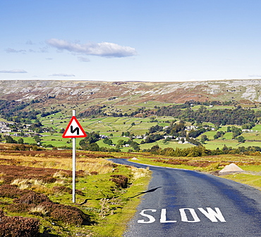 Country Road with Sign, Swaledale, Yorkshire Dales, England, UK