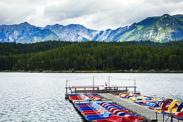 Boats on Lake, Eibsee lake, Bavaria, Germany, Europe