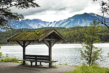Lakeside Sitting Area and Mountains, Eibsee lake, Bavaria, Germany, Europe