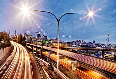 Streetlamp over freeway at night, Seattle, Washington, United States, Seattle, Washington, United States of America