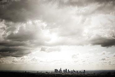 Los Angeles Skyline Beneath Cloudy Sky, Los Angeles, California, United States of America