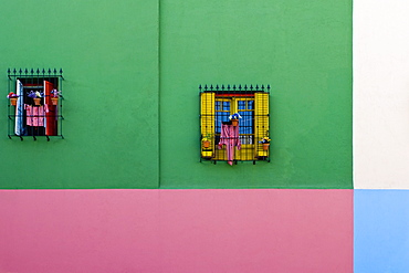Windows in Colorful Building Exterior, Buenos Aires, Argentina