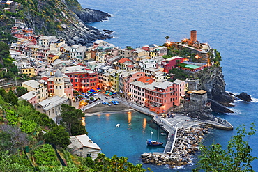 Elevated View of Vernazza at Dusk, Vernazza, Liguria, Italy
