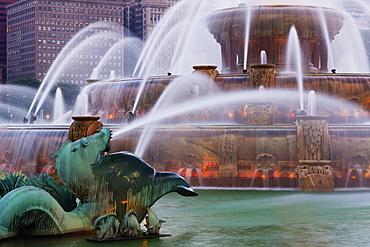 Buckingham Fountain at Dusk, Chicago, Illinois, United States of America