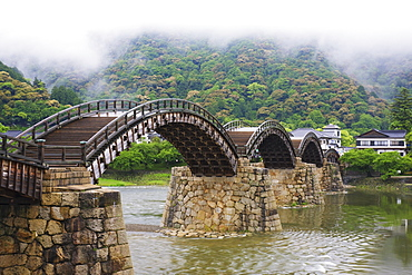 Asian Pedestrian Bridge Over a River, Iwakuni, Yamaguchi, Japan