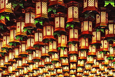Asian Lanterns Suspended from a Ceiling, Honshu island, Japan, Asia