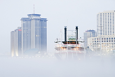 Riverboat in the Fog at Day, New Orleans, Louisiana, United States of America