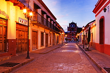 Empty Town Street at Dawn, Chiapas, Mexico