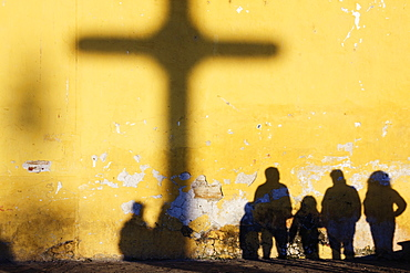 Shadow of Cross and People, Chiapas, Mexico