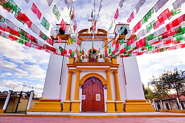 Red, white and green banners on church, Chiapas, Mexico, Chiapas, Mexico