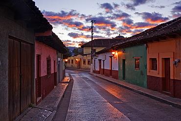 Empty Town Street at Dawn, Chiapas, Mexico
