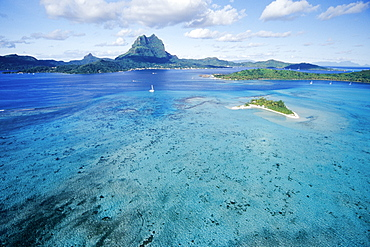 Aerial View of Lagoon, Bora Bora, Tahiti, French Polynesia