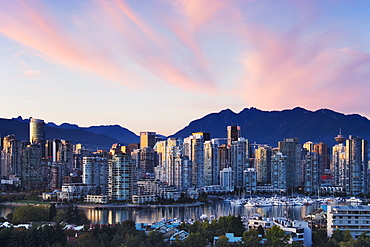 Downtown Vancouver Skyline at Dusk, Vancouver, British Columbia, Canada