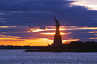 Statue of Liberty at Sunset, Manhattan, New York, United States of America