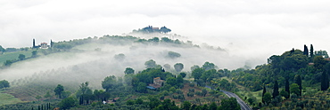 Valley Fog in the Val D'Orcia at Dawn, Rocca d'Orcia, Tuscany, Italy