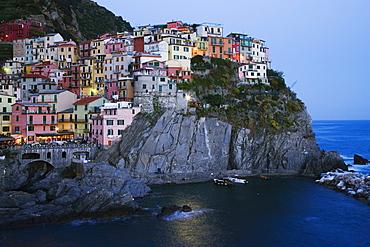 Cinque Terre Town of Manarola at Dusk, Manarola, Liguria, Italy