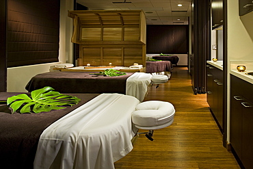 Massage tables in empty spa, Seattle, Washington, USA
