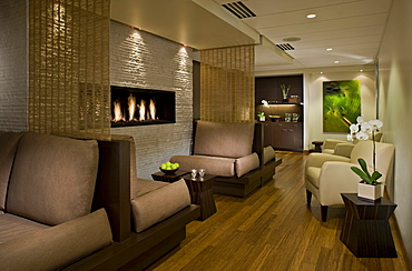 Lounge area in empty spa, Seattle, Washington, USA
