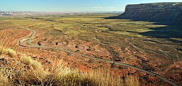 Aerial view of road in Valley of the Gods, Utah, United States, Valley Of the Gods, Utah, USA