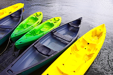 Empty canoes mooring on lake, Rural, Alentejo, Portugal