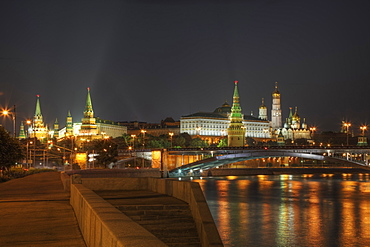 City skyline illuminated at night, Moscow, Russia, Moscow, Moscow, Russia