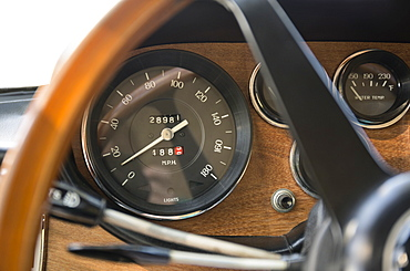 Close up of speedometer in retro Ferrari dashboard, Virginia Beach, Virginia, USA