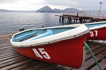 Boats on wooden dock, Hokkaido, Hokkaido, Japan